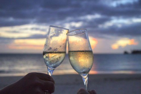 Honeymoon image of two glasses. make reservations early and enjoy discounts