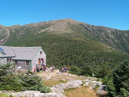 A closeup view of Greenleaf Hut, near the Franconia Ridge