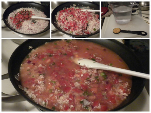 Add tomatoes and broth