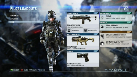 Initially you have to choose from a selection of pre-set loadouts. Once you level up enough you get access to custom options.