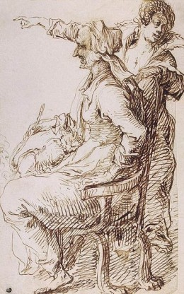 Two witches are pictured here with a cat in one's lap. Perhaps a familiar?