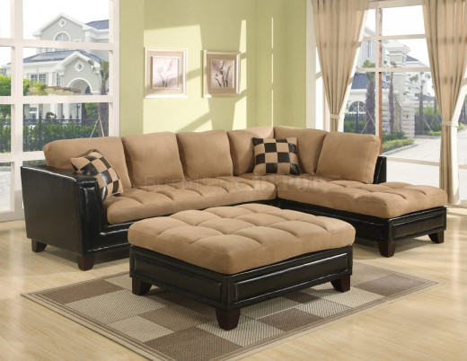 Real Suede with Real Leather accents Sectional and Ottoman