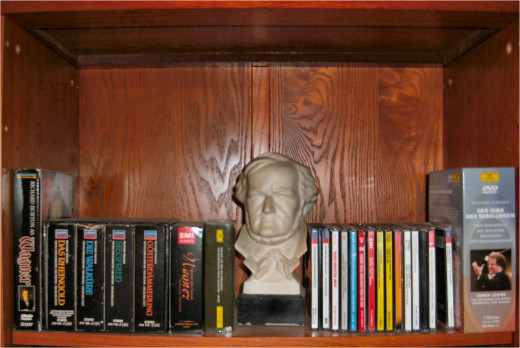 """My """"shrine"""" to Richard Wagner, CDs, and DVDs.   The James Levine Ring Cycle is on the right.  To the left is the motion picture """"Wagner"""" starring Richard Burton - 9 hours long!"""