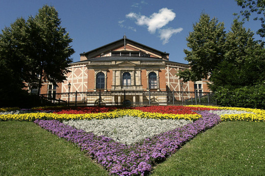 "The Festspielhaus at Bayreuth, designed by Wagner himself to perform his ""music-dramas."""