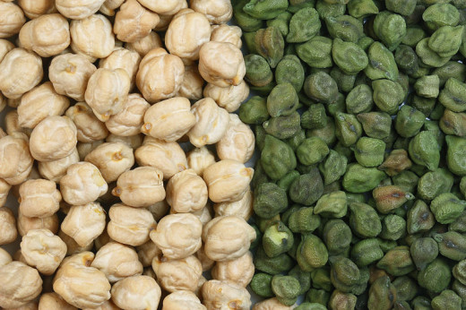 The chickpea is a legume, also called a garbanzo bean.   Typically tan or green in color.