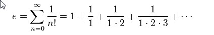 The constant e, which is the base of the natural logarithm, which is approximately 2.71828 is again an irrational number which like π is not merely irrational but transcendental as well.