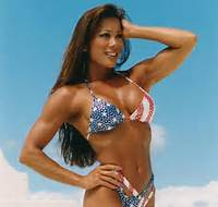 Kiana Tom in her signature and classic bikini but this time with red, white and blue stars and stripes