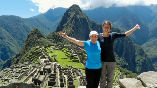Mother and Daughter in front of Machu Picchu