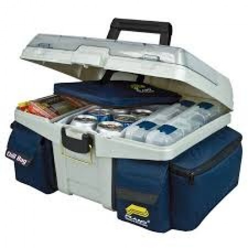 A tackle box is used to store hooks, bobbers, line, lures and other fishing essentials. Never go fishing without one.