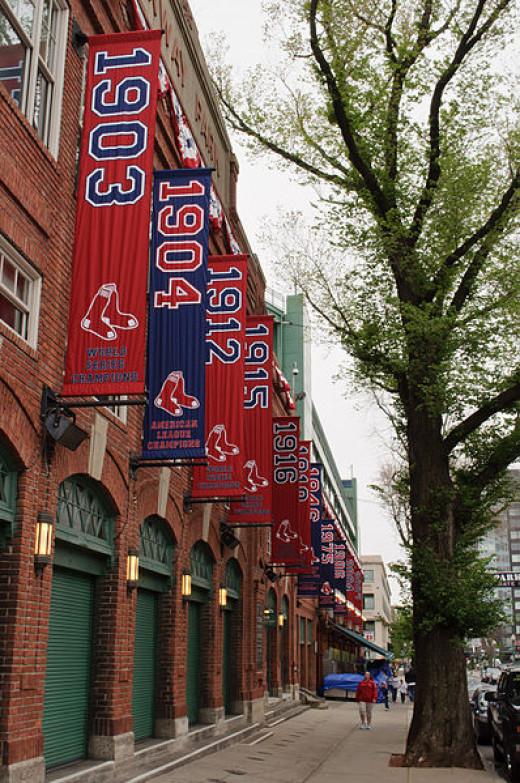 Banners hang outside Boston's Fenway Park.
