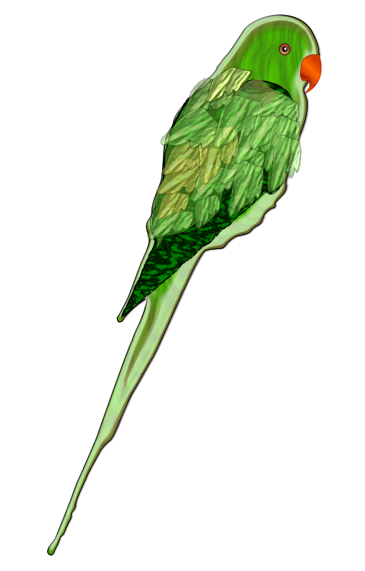 a parrot, using a lot of effects in Inkscape