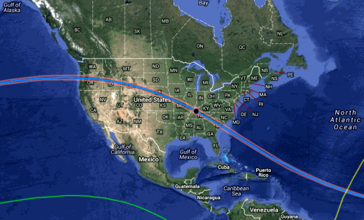 Path of upcoming eclipse, to occur on 8/21/2017.