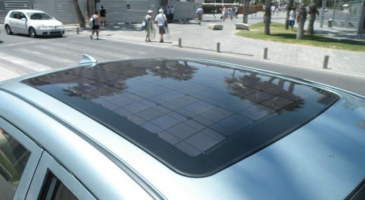 Car roof-mounted solar panel