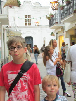 Evening walk in AnaCapri - he didn't really want his photo taken!
