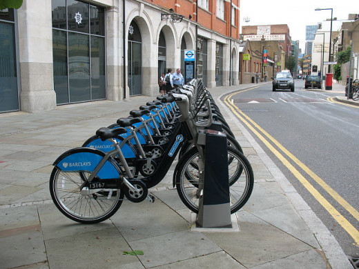 Cycles for hire. Known as 'Borris Bikes' after the Mayor of London who introduced them.