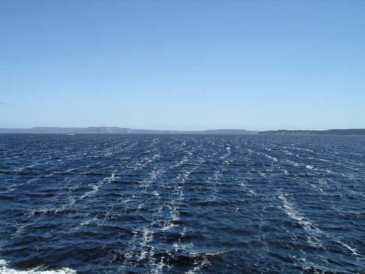 The chilled, purple waters of Macquarie Harbour.