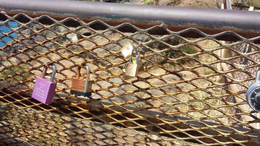 Locks of Love at the Makapu'u Light House observation deck.