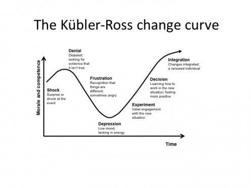 Change always comes with an emotional journey. Elisabeth Kublar Ross described this with the, now well know, change curve.