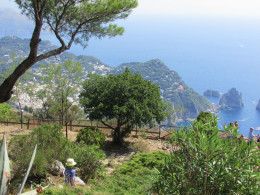 You can just spot our son in his straw hat here (at the top of Mount Solaro)