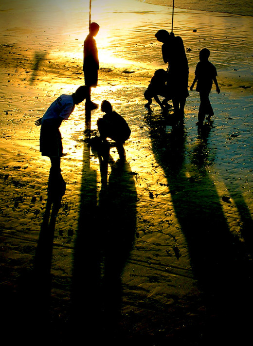 Children play sunset football. Photographer from Utrecht, The Netherlands