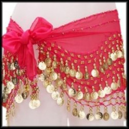 Red Chiffon Hip Scarf with Coins