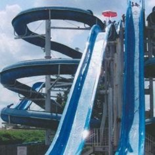 Splash Adventure has several very tall water slides for your entertainment.  Many of them have twists and turns that sling you into a water pool at a very fast pace.