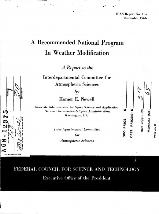 A Recommended National Program on Weather Modification (link to full document below)