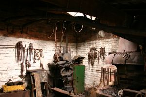 A fully stocked blacksmith shop