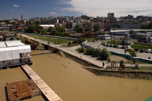 Belgrade being flooded by the Sava River. The scene is seen from Old Sava Bridge