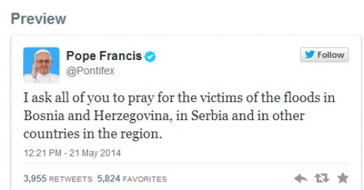 Pope Francis prays for flood victims in the Balkans