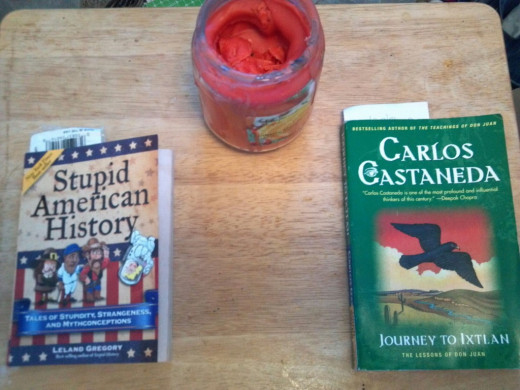 The two books that I read were: Stupid American History by Leland Gregory and Journey to Ixtlan - The Lessons of Don Juan by Carlos Castaneda.  Not only did my candle light my reading, it also smelled good.