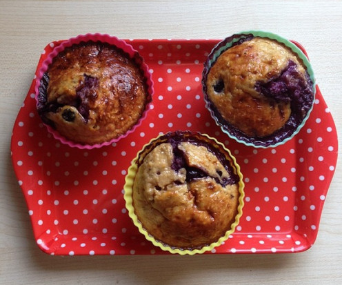 My yoghurt, blueberry, protein oat muffins.