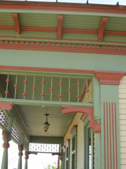 Colorful details on the porch of the John Riordan Home.