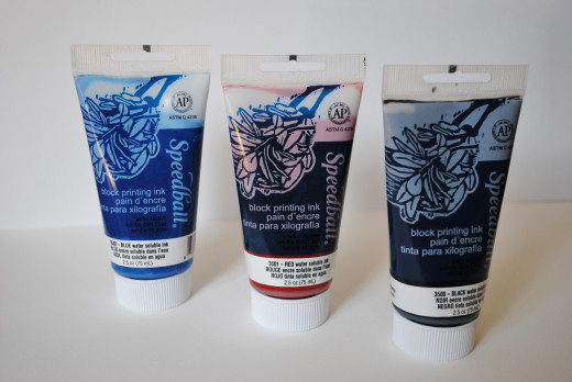 A variety of Speedball water based inks -  I like to use basic red, blue and black.