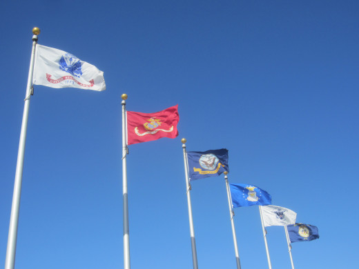 Flags of Branches of the U.S. Military flying in Tucson, AZ
