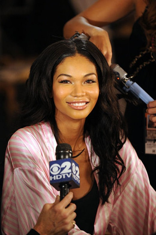 Multi-Cultural Backgrournd English: Model Chanel Iman attends the Victoria's Secret fashion show at The Armory on November 19, 2009 in New York City