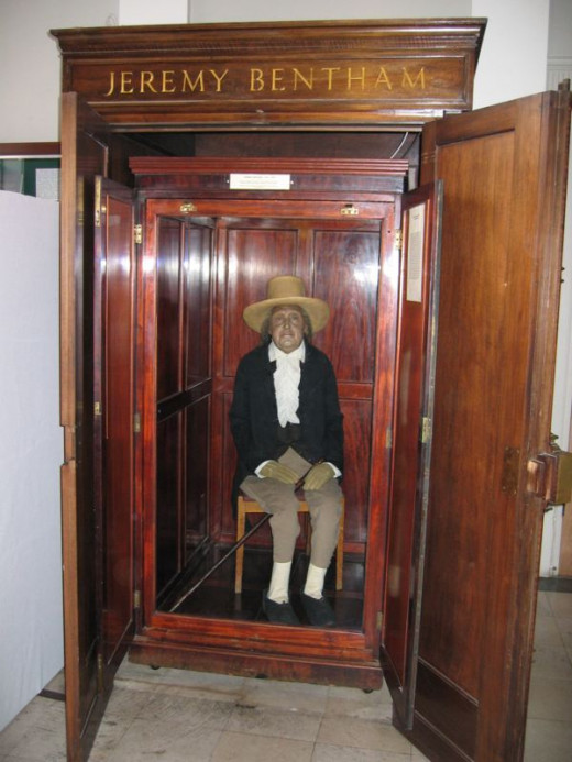 Bentham's preserved body (except for his head which is a wax replica) is on public display in University College London