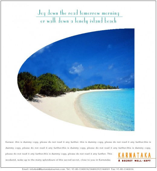 An Ad I Wrote For KSTDC - Travel in Karnataka