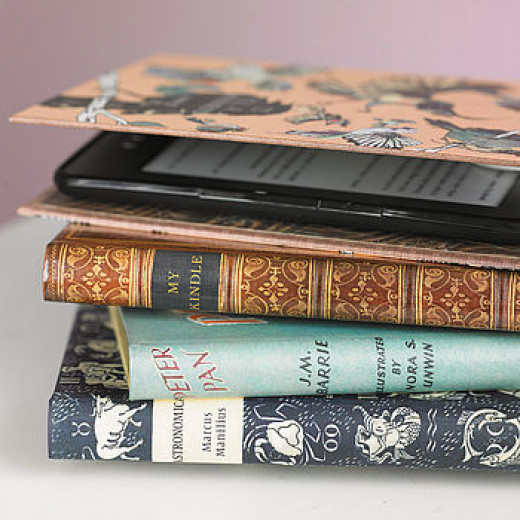 This nifty little book cover houses your Kindle to make it look less expensive.