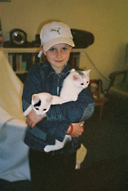 """both cats consenting to being """"loved"""" by a mate's daughter..."""