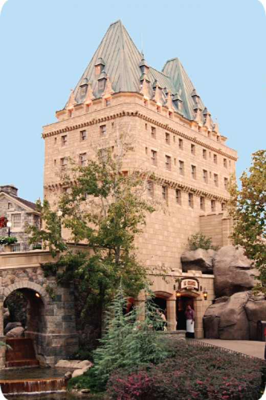11 elaborate national pavilions make up EPCOT's World Showcase. Pictured here is the Canada Pavilion.