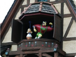 An interactive clock tower chase element of Agent P's World Showcase Adventure is triggered by guests on the mission.