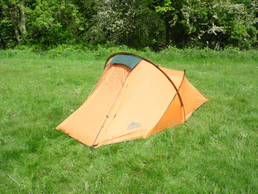 My other tent: a sturdy but lightweight two-man structure I use for rugged camping.  No shower block here.