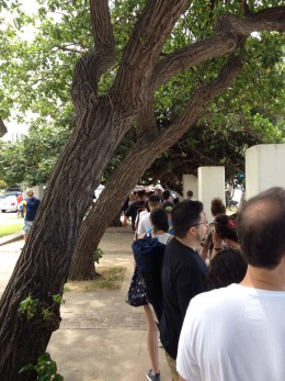 in line before 10am, a line was already formed several 100 yards snaking along  the sidewalk.