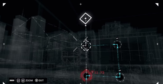 The player hacks into a ctOS security system, performing a puzzle to gain access to Chicago's camera network in Watch_Dogs.