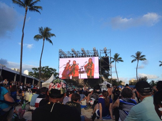 Makaha Son's on the big screen - I'll Remember You... very emotional for the occasion.