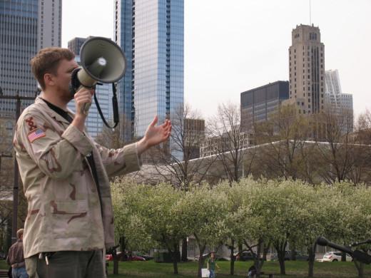 Veteran protesting the Iraq War.