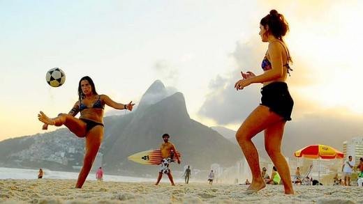 Everyone in Brazil is a footballer! Beach football is also a popular leisure activity.