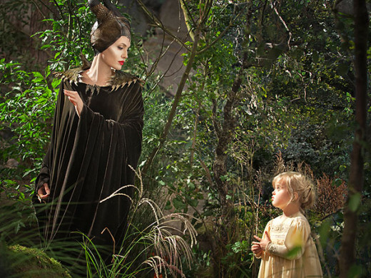 Angelina Jolie as Maleficent with her real life daughter Vivienne Jolie-Pitt who plays Princess Aurora.