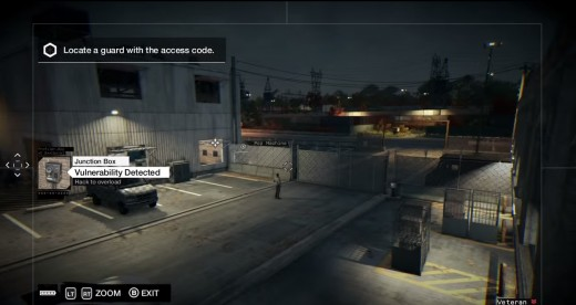Aiden messes with the guards of the Brandon Docks ctOS Center in Watch_Dogs.
